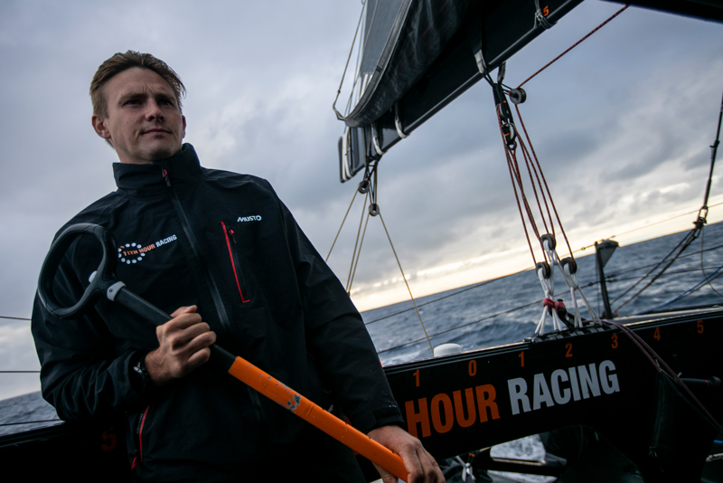 Kyle Langford of 11th Hour Racing Team drives their IMOCA 60 on an Atlantic crossing from France to Newport, RI.
