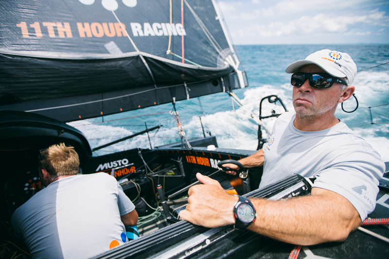Rob Greenhalgh, newly announced sailor of 11th Hour Racing Team, steers the team's IMOCA 60 during a delivery from Brazil to France following the 2019 Transat Jacques Vabre.