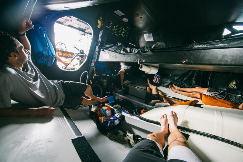 11th hour racing team imoca 60 sailboat below deck