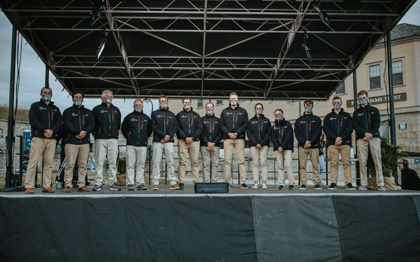 11th hour racing team on stage during a Homecoming event in Newport Rhode Island where three new sailors were announced