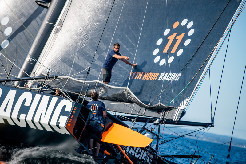 Pascal Bidegorry and Charlie Enright test the new mainsail onboard 11th Hour Racing