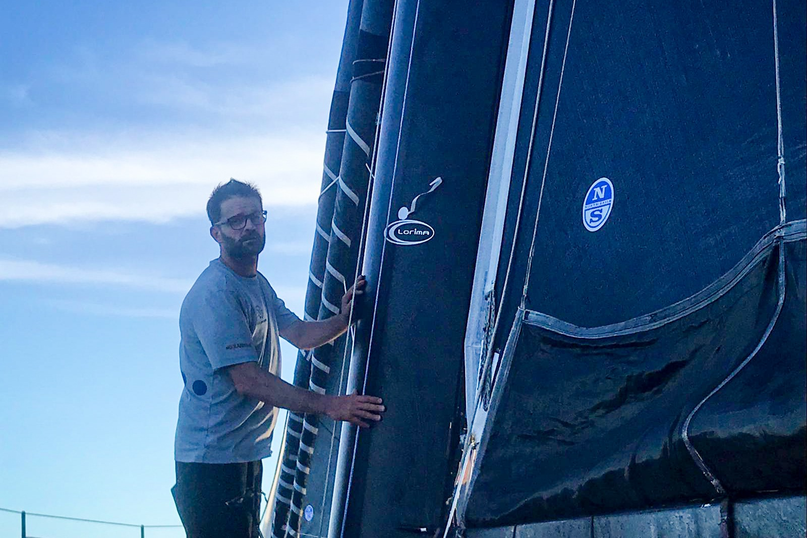 Pascal Bidégorry checks the headsails on Day 11 of racing in the Transat Jacques Vabre,