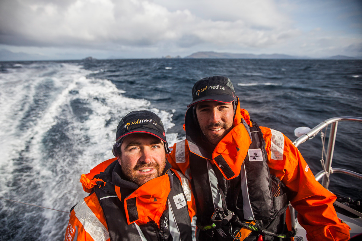 charlie enright and mark towill onboard alvimedica while rounding cape horn on a sailboat 14-15 volvo ocean race