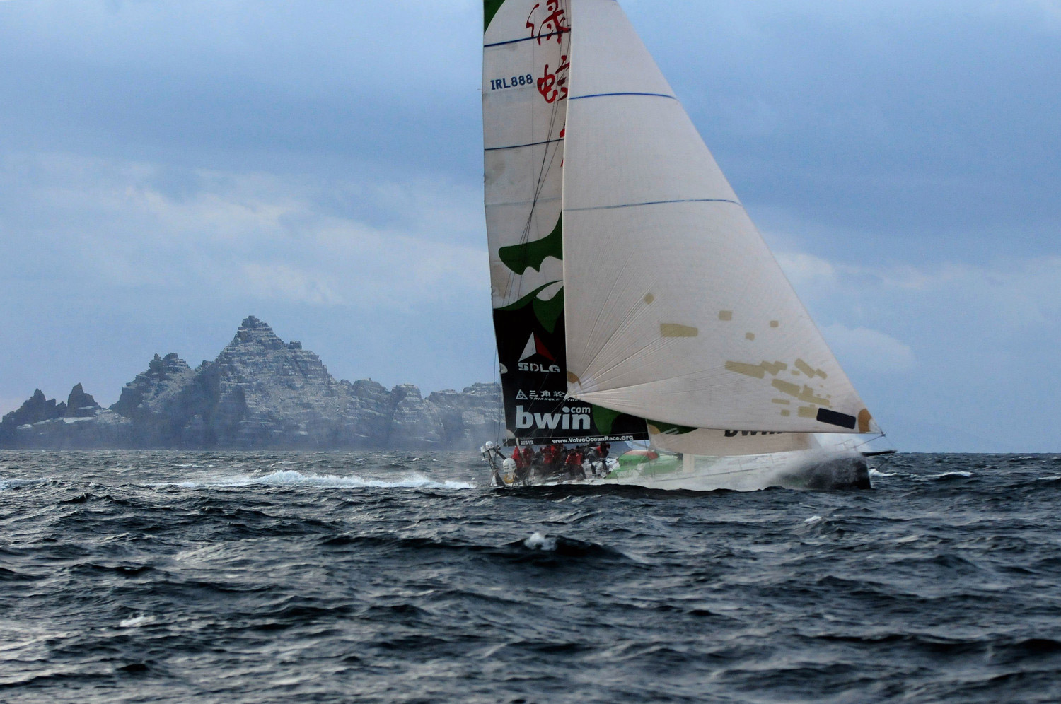 DAmian Foxall top ocean race moments: Greendragon sails past the Irish Coast during the 2008-09 Volvo Ocean Race